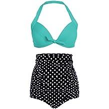 Polka Dot lunares retro Pinup Vintage Mujer Bikini con parte superior alta cintura y turquesa (