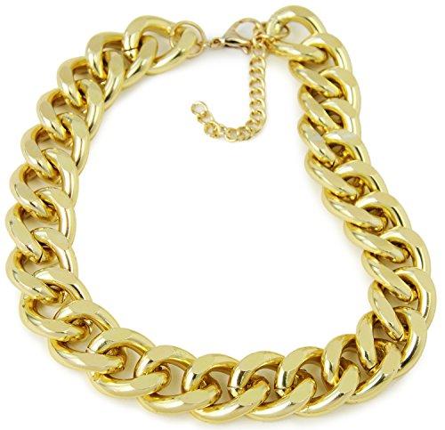 Gold-Ring-Kette-Herren Reihe Massiv Halskette Accessoires Glieder-Kette Gangster Gold-Chain PIMP Proll Metall Kostüm Hip-Hop Königskette