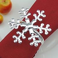 Azlife portatovaglioli, set da 4, elegante portatovaglioli diametro 4,1cm per arredamento tavolo da cucina decorazioni ornamenti di Natale, cene, feste, compleanni, matrimoni, feste Snowflake Snowflake