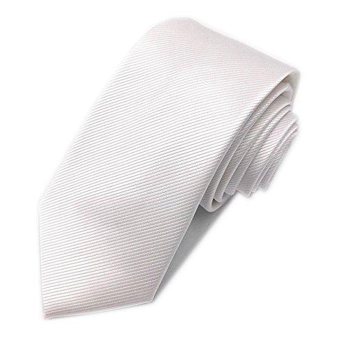 JillyMode Herren Elegante Herren Krawatte 100% handmade K01-02 (K01-Uni-Weiß)