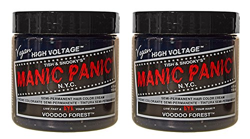 2 x Manic Panic High Voltage Classic Cream Formula Hair Color Voodoo Forest 118ml