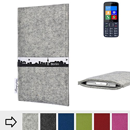 flat.design für bea-fon SL820 Schutz-Hülle Handy Tasche Skyline mit Webband Berlin - Maßanfertigung der Filz Schutztasche Handy Case aus 100% Wollfilz (hellgrau) für bea-fon SL820