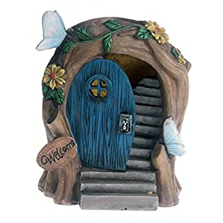 Solar Powered beleuchtet Fairy Tür/Dwelling Garten Ornament/Light Up Fairy House