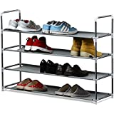 House of Quirk 4 Layer Metal Shoe Rack - Grey
