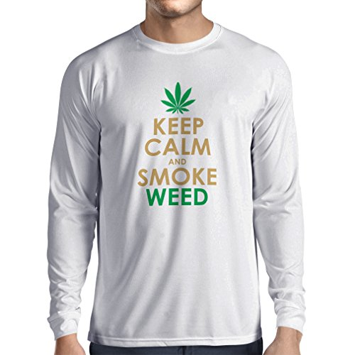Langarm Herren t shirts Halten Sie Ruhe und Rauch - Marihuana Blatt - Unkraut Raucher (Medium Weiß Gold) (Zeichen Milwaukee)