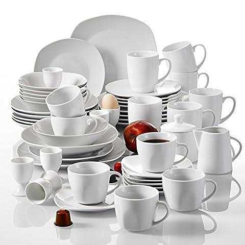 Malacasa, Serie Elisa, 50-teilig Tafelservice aus Porzellan, Kombiservice Frühstückservice Kaffeeservice mit Eierbecher, Kaffeetassen, Untertassen, Müslischalen, Dessertteller usw. für 6