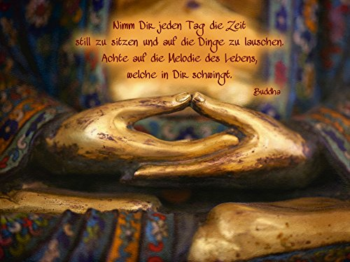 Artland Qualitätsbilder I Bild auf Leinwand Leinwandbilder Wandbilder 80 x 60 cm Fantasy Mythologie Religion Buddhismus Foto Gold A4WN Weisheit