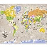 murando - Fototapete 200x140 cm - Vlies Tapete - Moderne Wanddeko - Design Tapete - Wandtapete - Wand Dekoration - Weltkarte Karte Landkarte k-A-0129-a-a