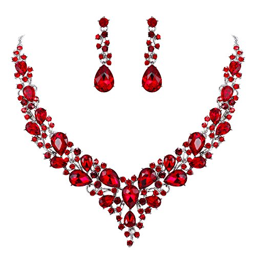 Clearine Damen Hochzeit Braut Österreichen Kristall Tropfen Cluster Statement Halskette Dangle Ohrringe Schmuck Set Rubin-Rot Silber-Ton