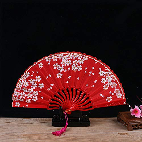 Kostüm Blossom Cherry - XIAOHAIZI Handfächer,Folding Fan'S Sommer Frauen Rote Pflanze Cherry Blossom Mode Kunststoff Lüfter Geeignet Für Hochzeit Damen Geschenk Tanz Ventilator U-Bahn Folding Fan