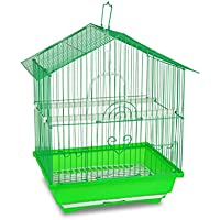189085 Gabbia per uccelli di piccole dimensioni BIRD 43.5X28.5X22 cm due mangiatoie. MEDIA WAVE store ® (Verde)