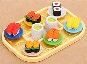 gommes effacer en forme de sushi sur un plateau repas par iwako japon jeux et jouets. Black Bedroom Furniture Sets. Home Design Ideas