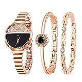 LABIUO Damenuhr-Set, Fashion Einfacher Analog-Quarz mit runden Armbanduhren aus Edelstahl(roségold,Einheitsgröße)