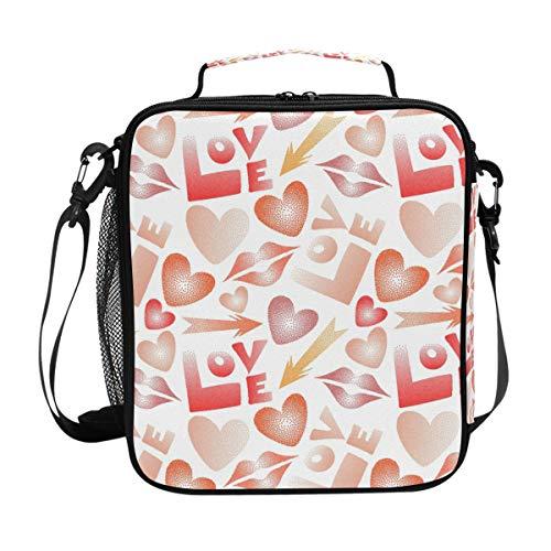 Happy Valentine's Day Love Slips Muster, große Kapazität, isolierte Lunchbox für Reisen, Picknick, Schule, Handtasche, Kühler, warme Lunchbox für Kinder, Mädchen, Jungen, Teenager, Frauen -