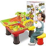 Xuanyang Kids Sand Set de Arena, Juguetes Arena y Mesa de Juego de Agua para niños Mesa de arenero de Playa Jardín al Aire Libre Jugar Spade Tool Toy