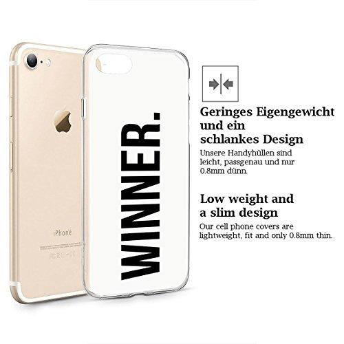 finoo | iPhone 8 Weiche flexible Silikon-Handy-Hülle | Transparente TPU Cover Schale mit Motiv | Tasche Case Etui mit Ultra Slim Rundum-schutz | Tattoo girl blond Winner dot white