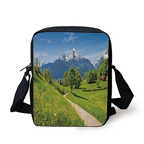 ZKHTO Landscape,Wildflowers in the Alps and Snow capped Mountains National Park Bavaria Germany,Yellow Green Print Kids Crossbody Messenger Bag Purse -