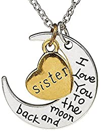 Cairo I Love You To The Moon And Back Pendant With Steel Brass In Heart Pendant Necklace For Girls