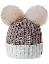 MFAZ Morefaz Ltd Mujer Gorro de Invierno Beanie Sombrero De Invierno Doble  Pompón Esquí de Moda 2b340d70acb