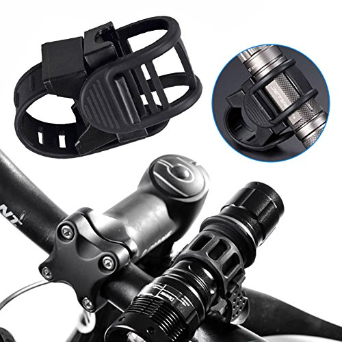 Liamostee Adjustable 360 Degree Rotatable Cycling Grip Mount Bike Clamp Clip Bicycle Flashlight LED Torch Light Lamp Holder -