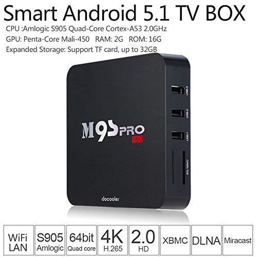 Docooler Smart TV Box Android 5 1 Amlogic S905 Quad Core UHD 4K 2G   16G Mini PC WiFi H 265 DLNA Miracast HD Media Player UK Plug