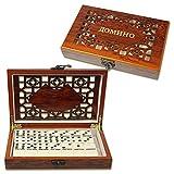 Domino in einer schön verzierten Holz Box 20x12x4 cm