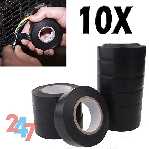 10x-high-quality-black-electrical-flame-pvc-insulation-tape-rolls-19mm-x-20m