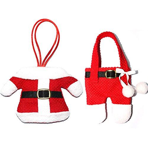 PanDaDa 2PCs Lovely Christmas Santa Anzug Dinner Besteckhalter (Kostüm Einfach Ideen Paar)