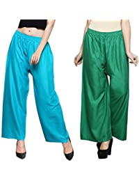 Eldino Rayon Sea Green Green Plazo Pant Indian Ethnic Plain Casual Wear Plazo Pant Women's Girls