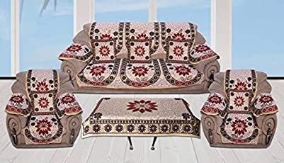 St Decor Store Flower Velvet Sofa Cover And 6 Arm Cover With Table Cover And 5 Cushion Cover (Set Of 18)