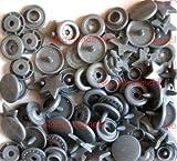 20 sternförmige silber-farbene Druckknöpfe aus Kunststoff, Baby-Snap (früher KAM Snap), Gr. T5, B13