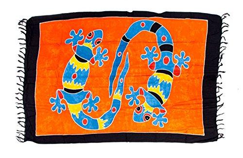 Sarong ca. 170cm x 110cm Handbemalt inkl. Sarongschnalle im Herz Design - Viele exotische Farben und Muster zur Auswahl - Pareo Dhoti Lunghi Gecko Rot Orange Bunt Batik