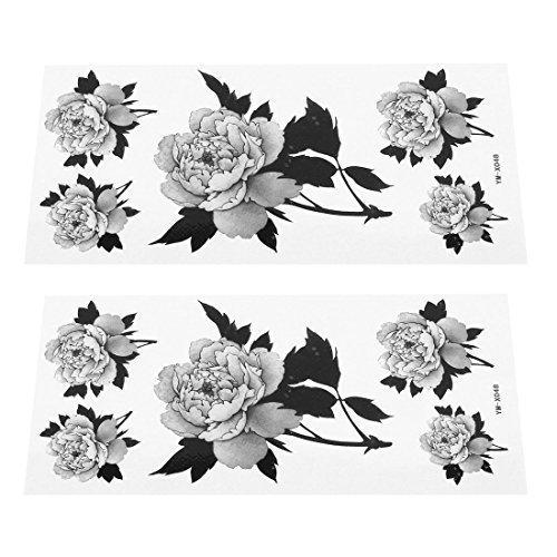 sourcingmap® Motivo Floreale Carta Adesivi Tatuaggi Temporanei 2 Fogli Grigio