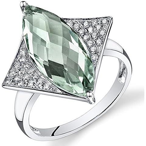 Peora 14K Oro Bianco Marchese Verde Ametista Diamante anello (4.4 cttw)