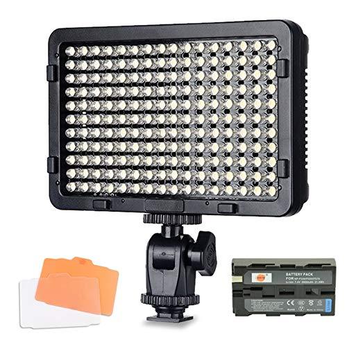 Tolifo PT-176S Videoleuchte LED Dimmbare Videolicht Videolampen 176PCS Kamera Licht 3200K-5600K Fotografie LED-Beleuchtung für Canon Nikon Sony Panasonic DSLR Camcorder mit F550 Akku KEIN Ladegerät