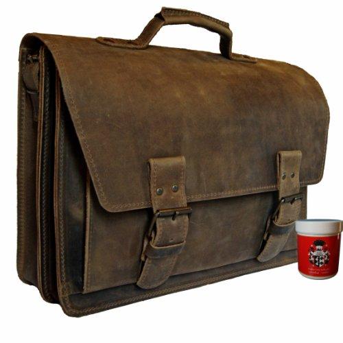 BARON de MALTZAHN Cartable bandoulière HERTZ en cuir marron + soins en cuir