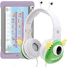DURAGADGET Auriculares mágicos para niños para Cefatronic - Tablet Clan Motion Pro . Colores divertidos. Diseño monstruo verde.