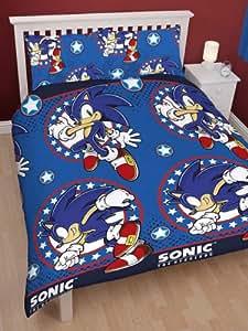 Sonic the Hedgehog - housse de couette de lit deux personnes avec taies d'oreiller 200x200 cm