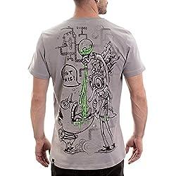 Camiseta Científico Loco -Camisetas divertidas de ciencia en algodón 100% con manga corta para hombre - Talla L, Gris Claro