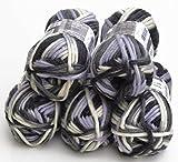 5x 50g Filzwolle Set color 115 – Monochrome, Wolle zum Stricken und Filzen in der Waschmaschine, ausreichend für 1 Paar Schuhe bis ca. Gr. 42