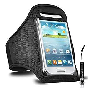 GBOS Adjustable Armband Gym Running Jogging Sports Case Cover Holder for SAMSUNG GALAXY E5 With Mini Touch Stylus pen Black