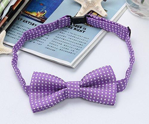Y-BOA Cravate Garçon Enfant Bébé Mariage Cérémonie Fête 21cm Pois Vintage Violet