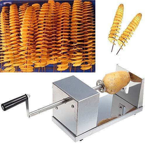 YUNRUX Kartoffelschneider Spiralschneider Gemüse Kartoffel Twister Uten Gemüse Schneider aus Edelstahl mit Kurbel und rutschfesten Gummifüßen für Obst Kartoffeln,Tornado Chips, Gurken oder Karotten