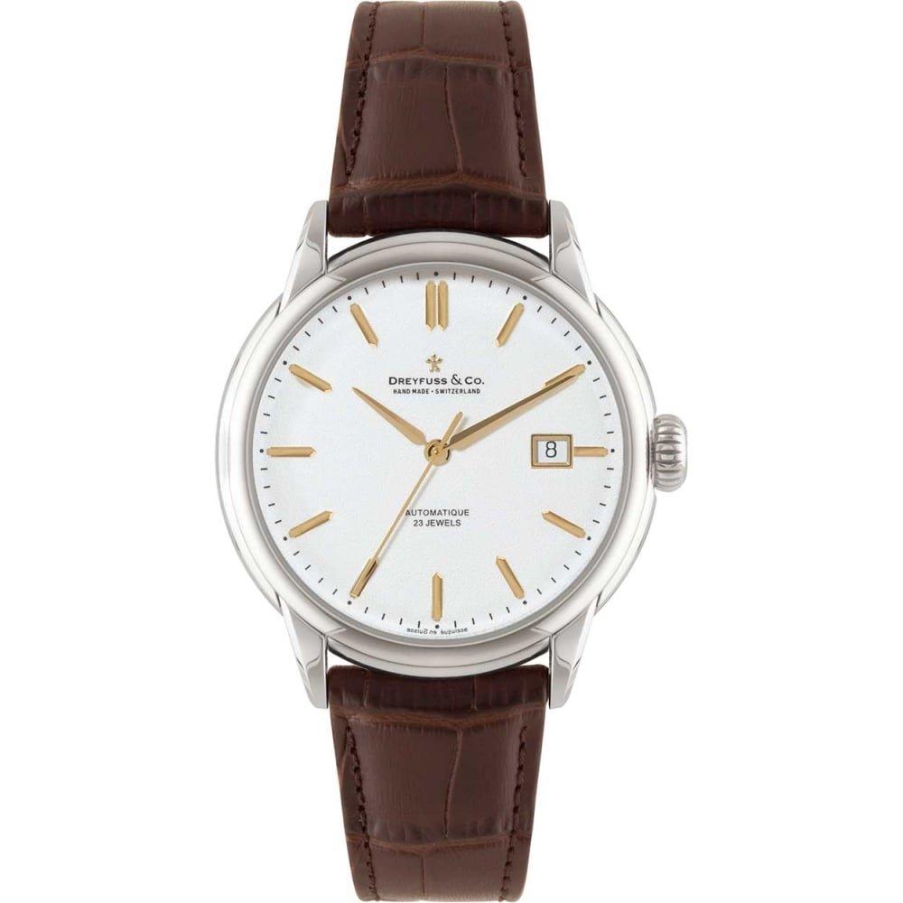 Dreyfuss & Co DGS00075–02–Wristwatch Men's, Stainless Steel Strap Brown