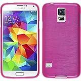 PhoneNatic Custodia Case per Samsung Galaxy S5Mini Custodia Silicone Pink Brushed Cover Galaxy S5Mini Cover + 2Pellicole
