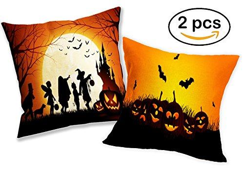 Halloween Kissenbezug Deko Set – 2 spooky gespenstische Leinen Kissenbezüge für Bett, Couch, Sofa oder Auto – perfekte Dekoration für zu Hause oder Büro