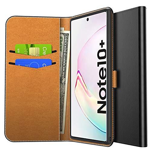 Yocktec Hülle für Samsung Galaxy Note 10+/Note 10 Plus, Ultra Slim Schutzhülle Handyhülle Premium PU Leder Flip Wallet Case Tasche mit Kartenfach & Ständer für Samsung Galaxy Note 10 Plus (Schwarz)