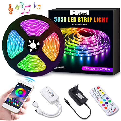 LED Streifen 5M LED Strip RGB 5050SMD 150 Led Bänder, LED Stripes steuerbar via App bluetooth, LED Band Sync mit Musik, Lichtband Hintergrundbeleuchtung Full Kit mit Fernbedienung Beleuchtung Elfeland