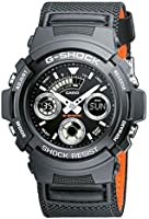 G-Shock Men's Quartz Watch with Black Dial Analogue Digital Display and Black Fabric Strap AW-591MS-1AER
