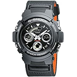Casio G-Shock Men's Watch with Black Analogue Display and Nylon Strap AW-591MS-1AER